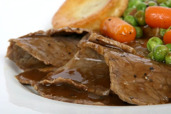 Roast beef con verdure