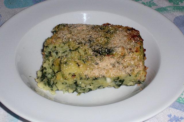 Gateau di patate con spinaci